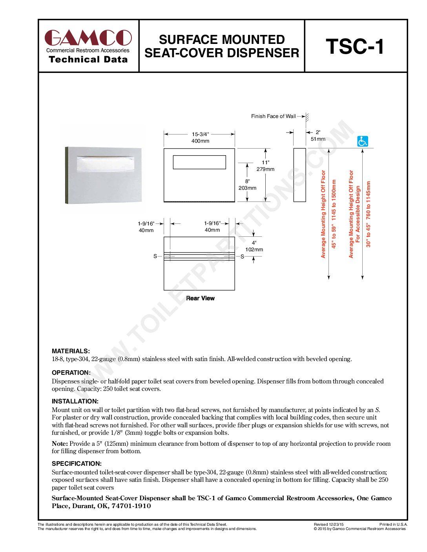 Pleasing Gamco Seat Cover Dispenser Model Tsc 1 Washroom Ncnpc Chair Design For Home Ncnpcorg