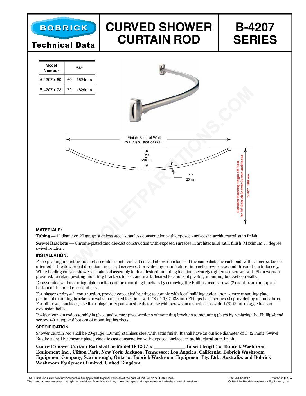 Bobrick Curved Shower Rod Model B 4207 Healthcare