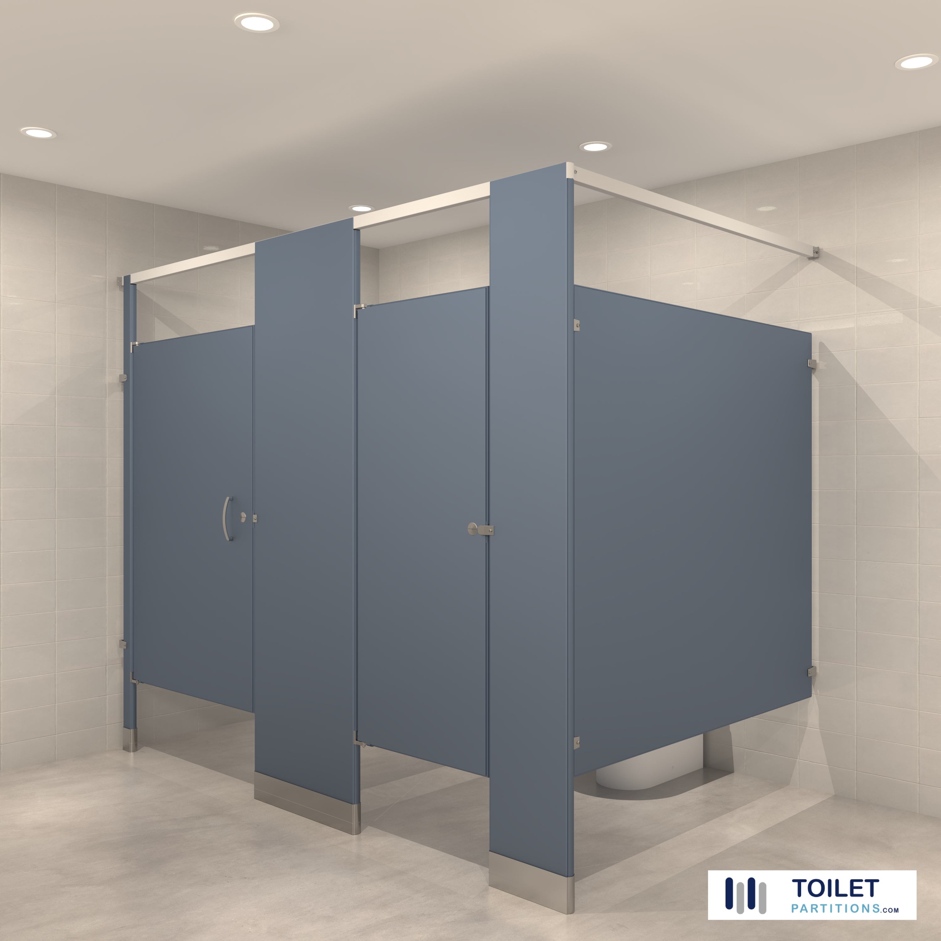 COLONIAL-BLUE-TOILET-PARTITIONS BY-TOILETPARTITIONS