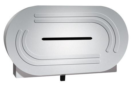 "American Specialties 0039 Low Profile Surface Mounted Twin 9"" Jumbo Roll Toilet Tissue Dispenser"