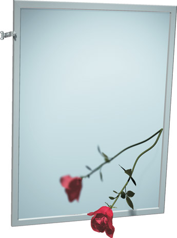 "American Specialties 0600-T1830  18"" x 30""  Adjustable Tilt Interlok Plate Glass Mirror"