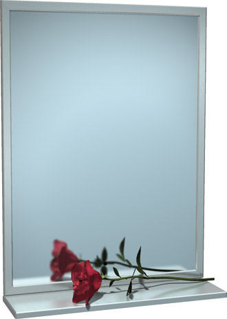 "American Specialties 0605-1836  18"" x 36"" Interlok Angle Frame Plate Glass Mirror With Shelf"
