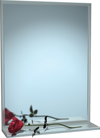 """American Specialties 0625-1824  18"""" x 24"""" Stainless Steel Chan-Lok Frame Mirror With Shelf"""