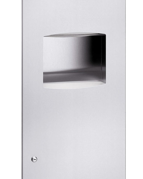 Bradley 2037-10 Semi-Recessed Folded Towel Dispenser & 11.2 gal. Waste Receptacle