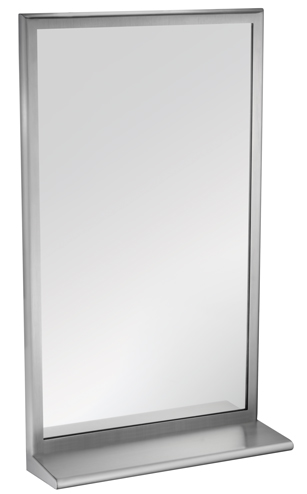 "American Specialties 20655-B2430  24"" x 30"" Roval Inter-Lok Stainless Steel Framed Tempered Glass Mirror With Shelf"