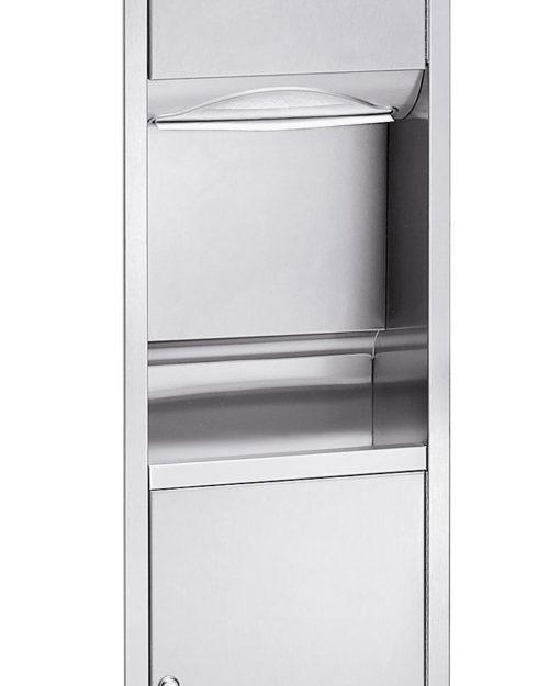 Bradley 2252 Recessed Folded Towel Dispenser & 4.9 gal. Waste Receptacle