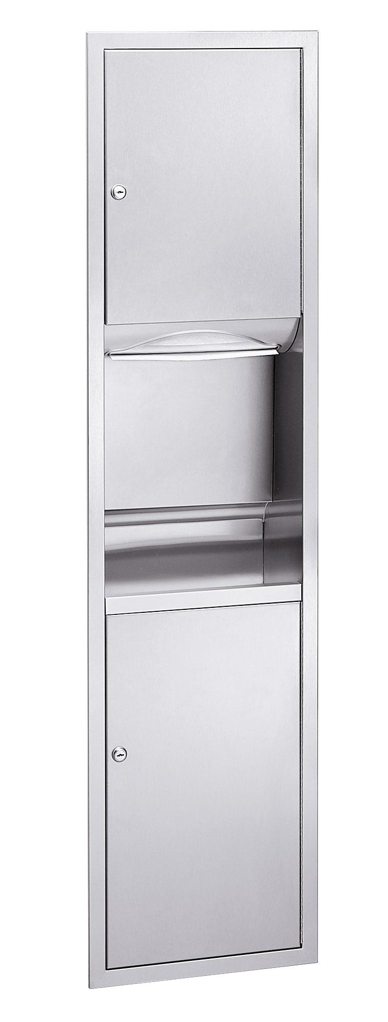 Bradley 2252-10 Semi-Recessed Folded Towel Dispenser & 4.9 gal. Waste Receptacle