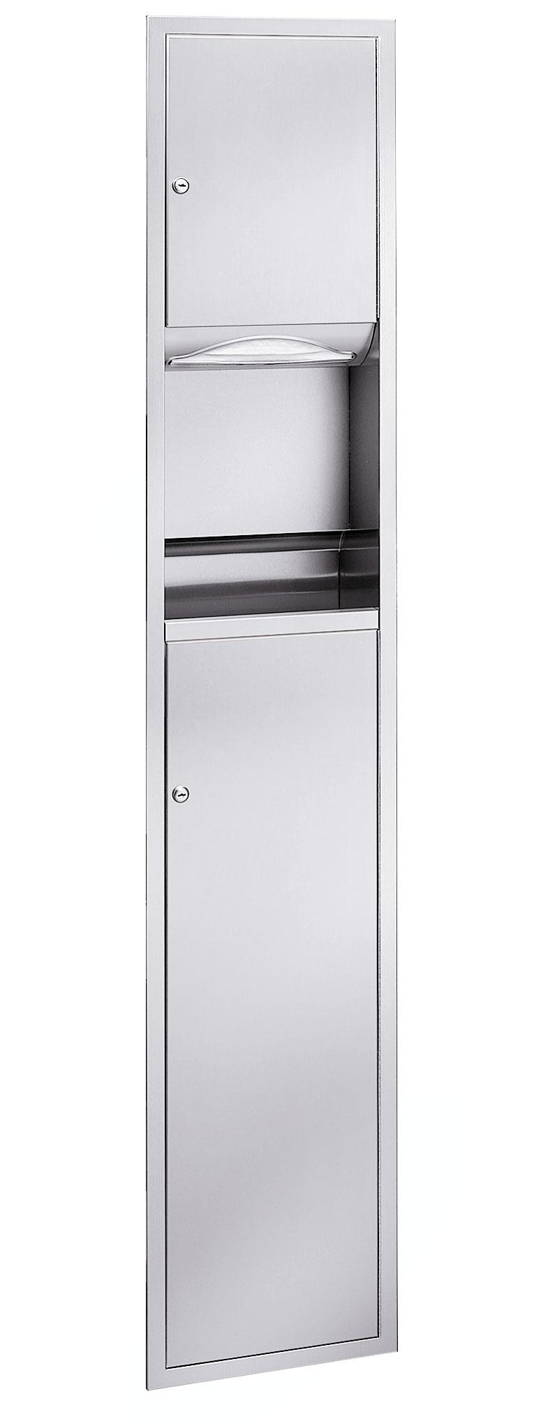 Bradley 225-10 Semi-Recessed Paper Folded Towel Dispenser & 9.2 gal. Waste Receptacle