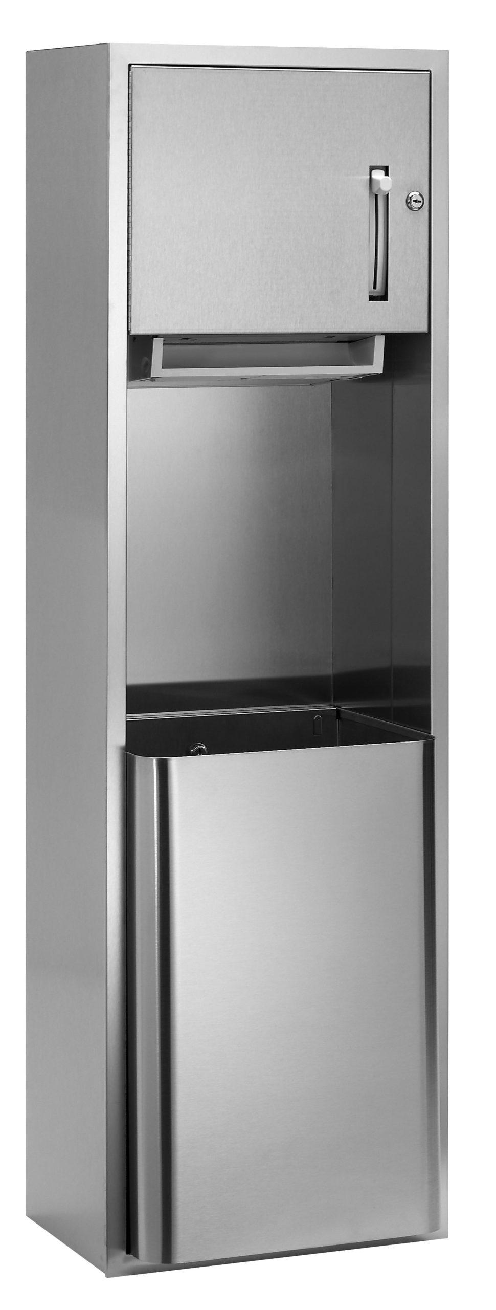 Bradley 227-10 Semi-Recessed Roll Towel Dispenser & 18 gal. Waste Receptacle
