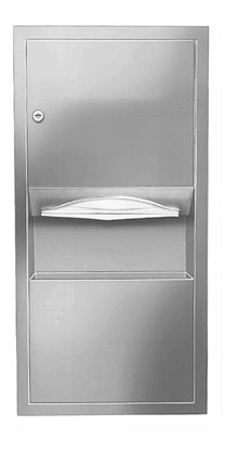 Bradley 2291-11 Semi-Recessed Folded Towel Dispenser & 2 gal. Waste Receptacle