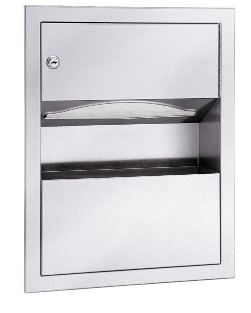 Bradley 229 Recessed Folded Towel Dispenser & 1.25 gal. Waste Receptacle