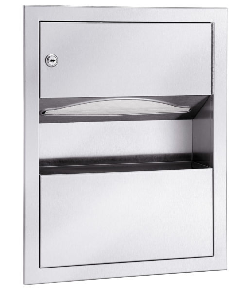 Bradley 229-11 Surface-Mounted Folded Towel Dispenser & 1.25 gal. Waste Receptacle