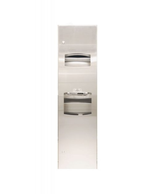 Bradley 270-10 Semi-Recessed Towel Dispenser, Hand Dryer & Waste Receptacle Combo Unit