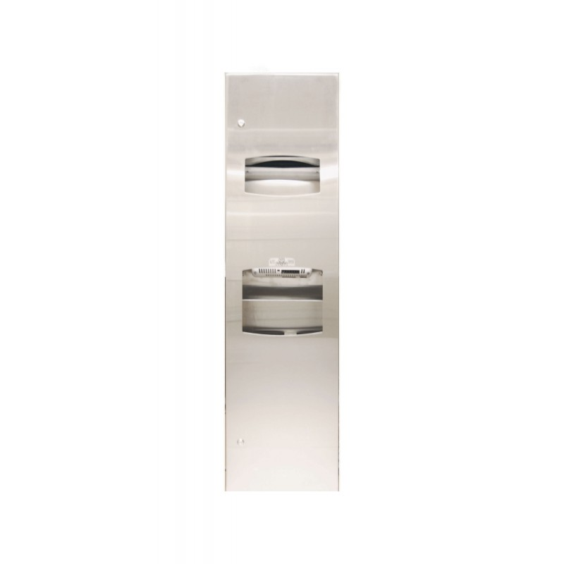 Bradley 270-1049 Semi-Recessed Towel Dispenser, Hand Dryer & Waste Receptacle Combo Unit (CE certified, for export)