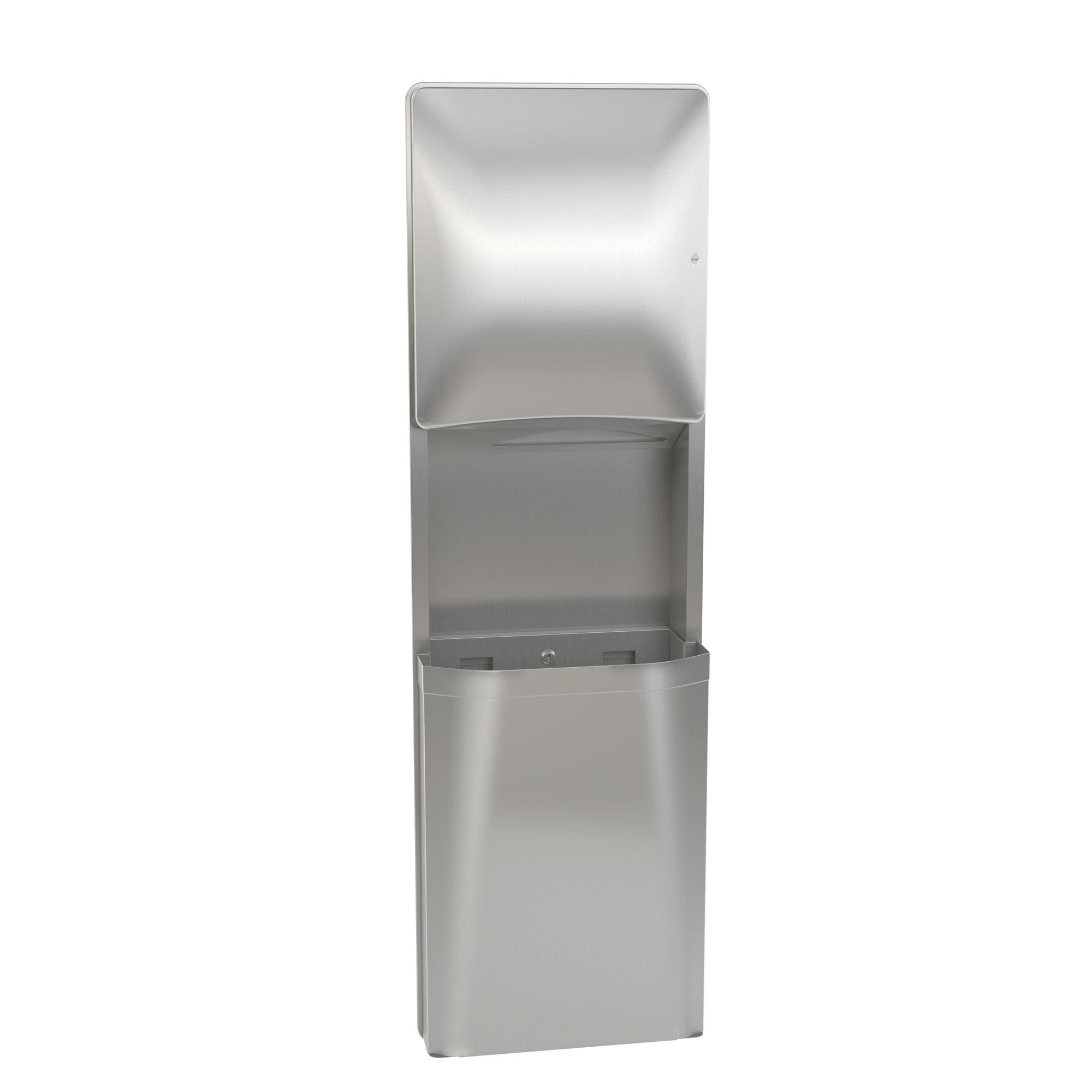 Bradley 2A05-10 Semi-Recessed Folded Towel Dispenser & 12 gal. Waste Receptacle