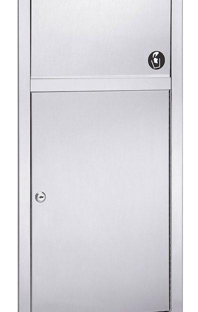 Bradley 3251 Recessed 2.8 Gal. Waste Receptacle With Push Flap Door