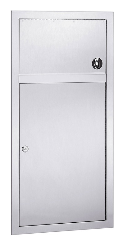Bradley 3251-10 Semi-Recessed 2.8 Gal. Waste Receptacle With Push Flap Door