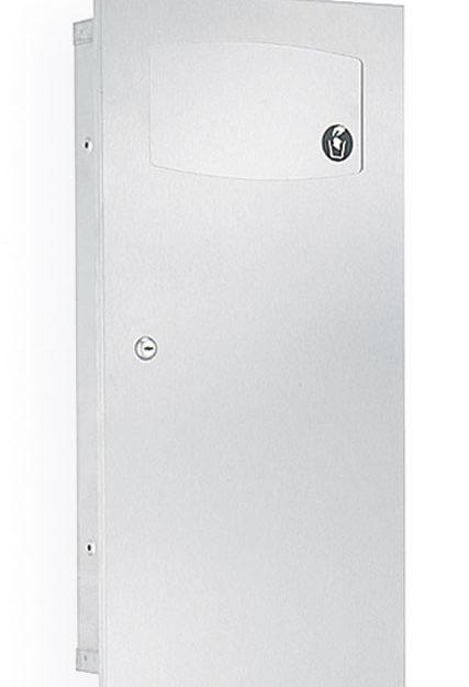 Bradley 3257 Recessed 2.8 Gal. Waste Receptacle w/ Push Flap Door
