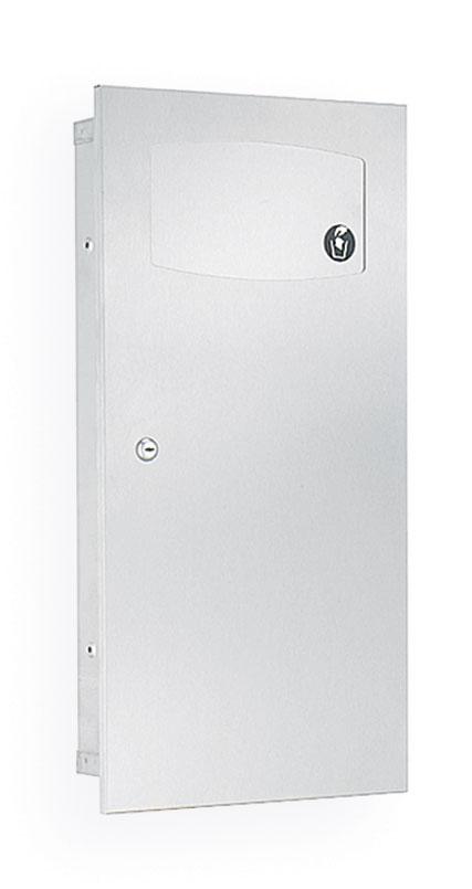 Bradley 3257-10 Semi-Recessed 2.8 Gal. Waste Receptacle w/ Push Flap Door