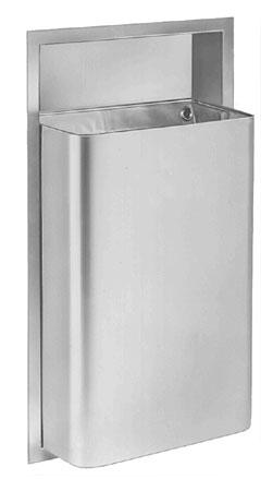 Bradley 344-10 Semi-Recessed 12 Gallon Waste Receptacle