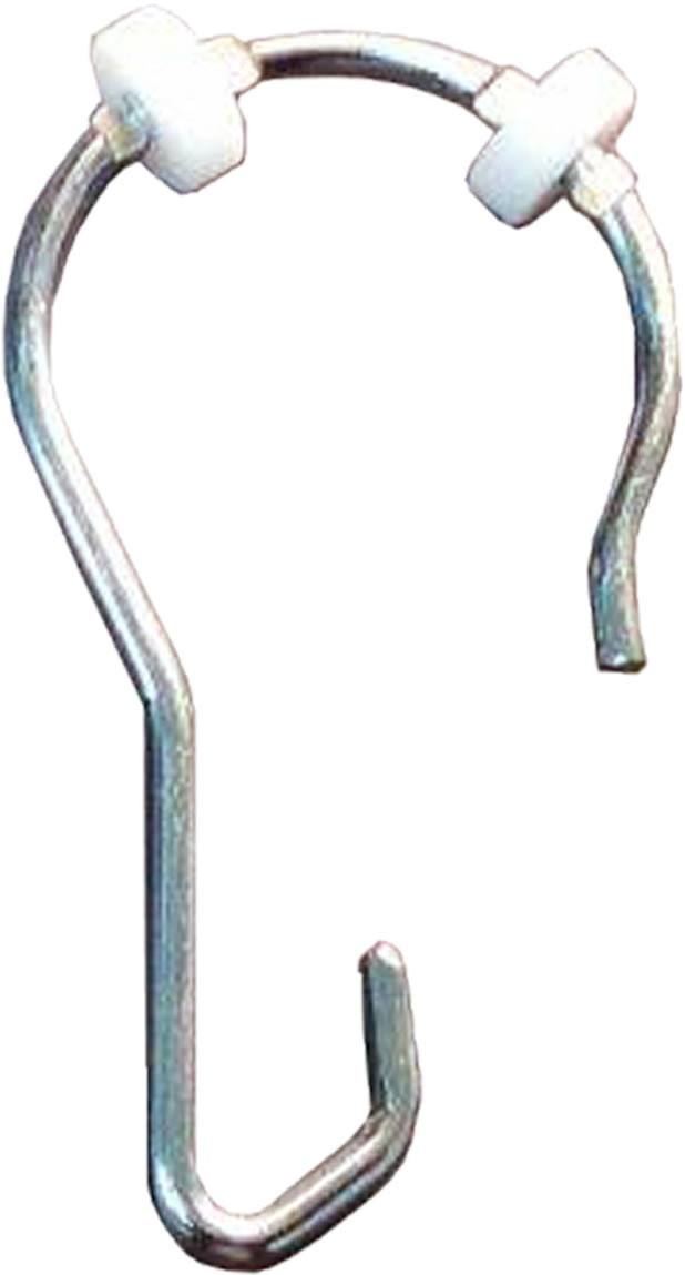 Gamco 100CHNR Chrome-Plated Steel Shower Curtain Hook With Nylon Rollers