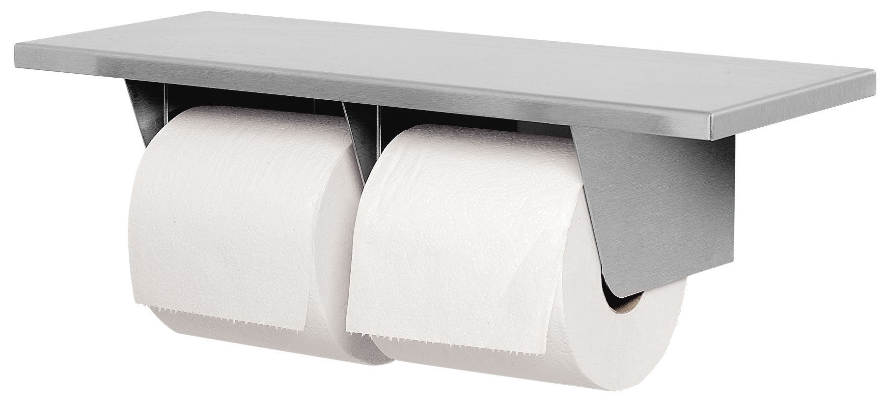 Bradley 5263 Double Roll Toilet Paper Dispenser With Shelf