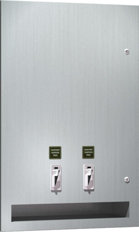American Specialties 64684-50 Semi-Recessed Sanitary Napkin/Tampon Vendor (50¢ operation)