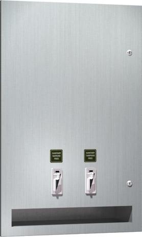 American Specialties 64684-F Semi-Recessed Sanitary Napkin/Tampon Vendor (free operation)