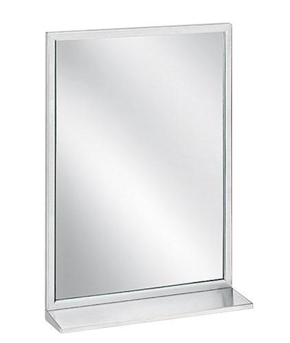 """Bradley 7805-2430 Angle Frame Mirror with Shelf 24"""" x 30"""""""
