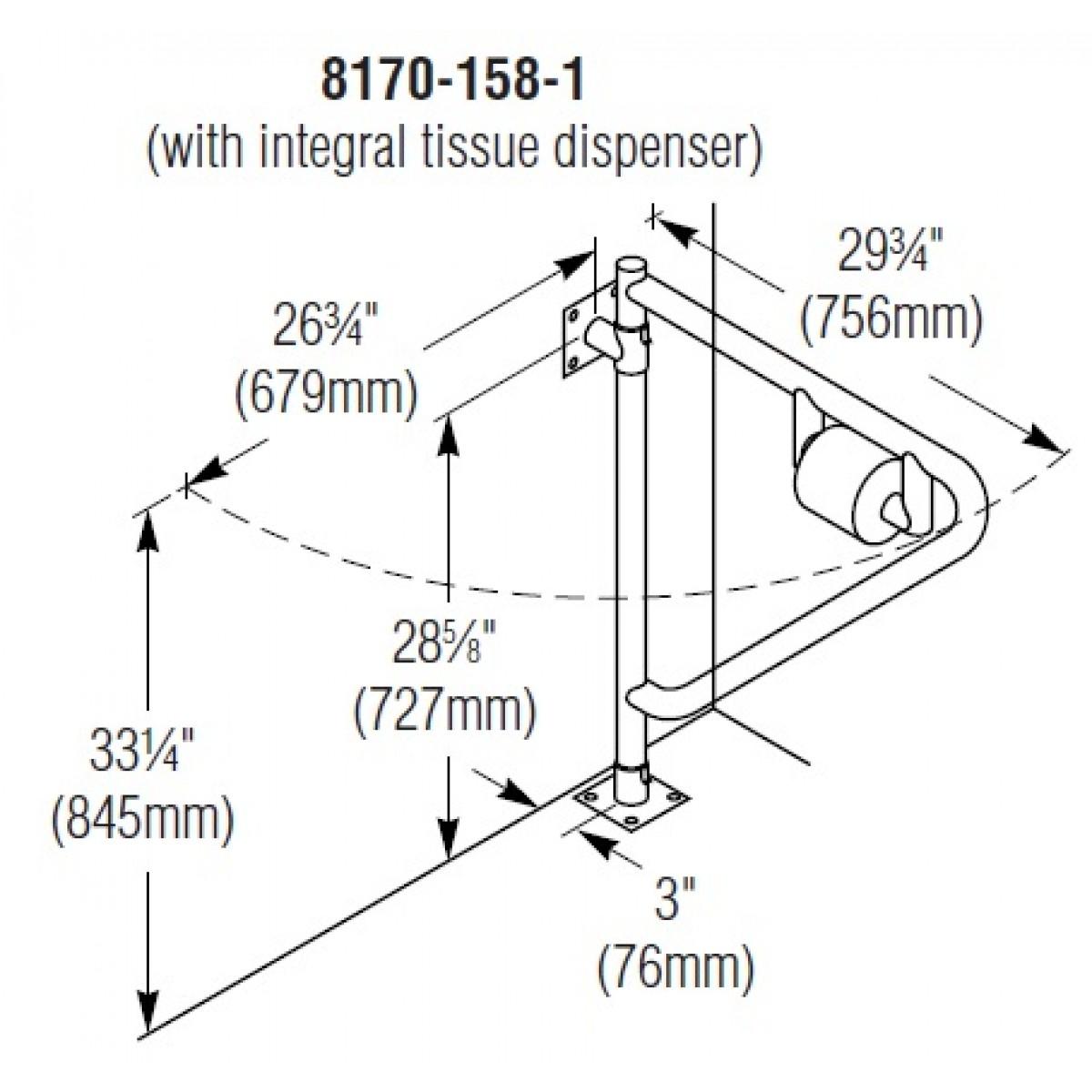 "Bradley 8170-158-1 1-1/2"" OD Swing Away Grab Bar With Integral Tissue Dispenser"