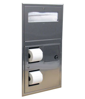 Bobrick B-35745 (Formerly 819843) Recessed Seat-Cover Dispenser, Sanitary Napkin Disposal, and Toilet Tissue Dispenser