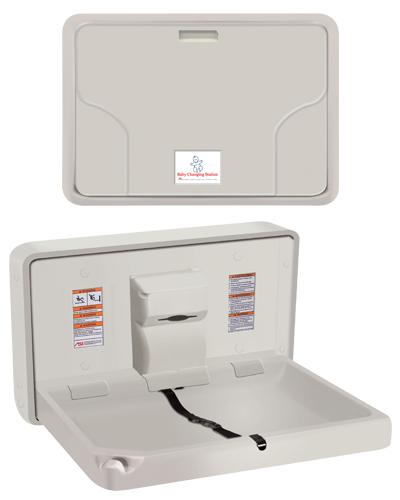 American Specialties 9014 Horizontal Surface Mounted Solid Plastic Baby Changing Station