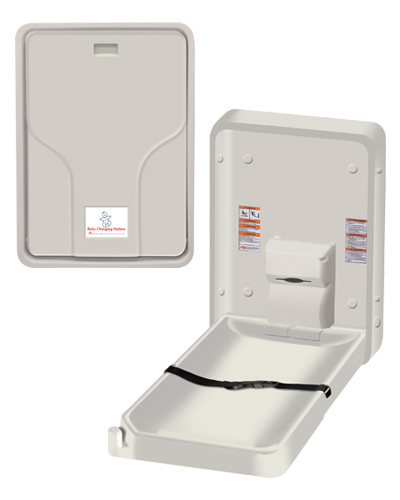 American Specialties 9015 Vertical Surface Mounted Solid Plastic Baby Changing Station