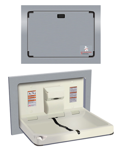 American Specialties 9018 Horizontal Recessed Stainless Steel Baby Changing Station