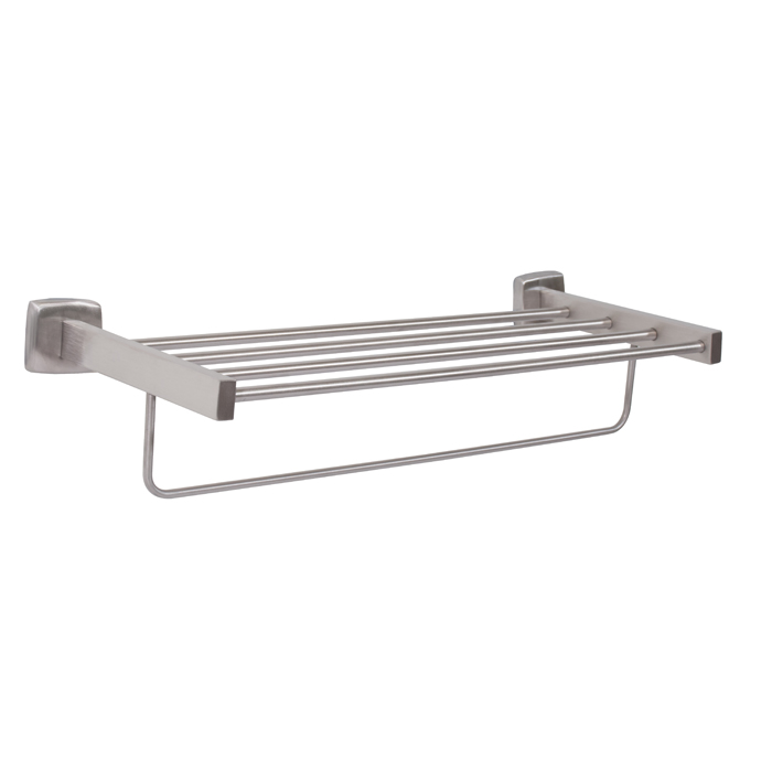 "Bradley 9104-2490 Satin Finish 24"" Towel Shelf With Bar"