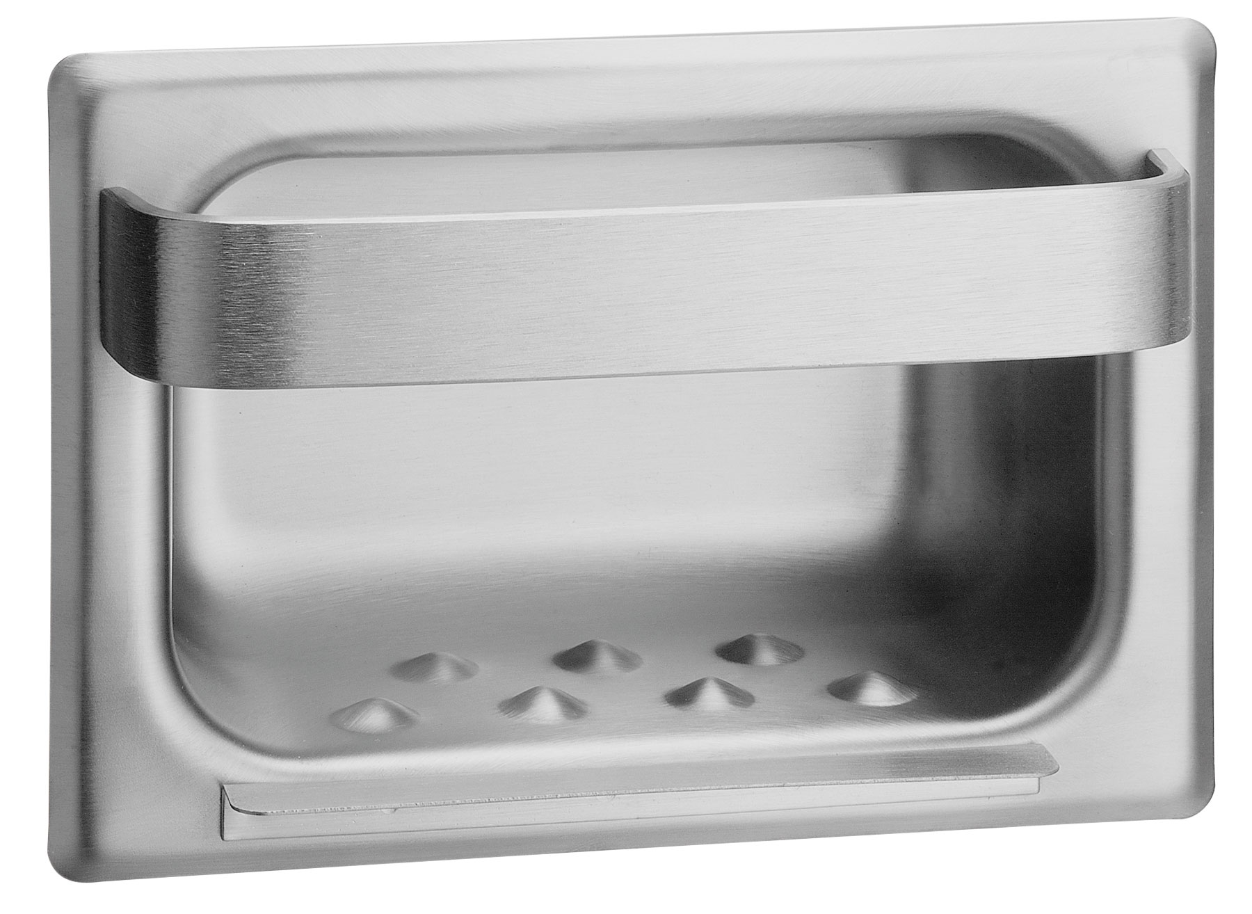 Bradley 940 Stainless Steel Recessed Soap Dish & Towel Bar - w/ Mortar Lugs