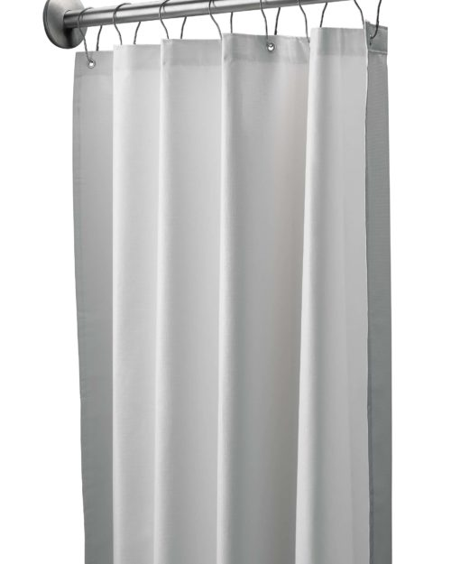 "Bradley 9533-3672 White Antimicrobial Vinyl Shower Curtain 36"" x 72"""