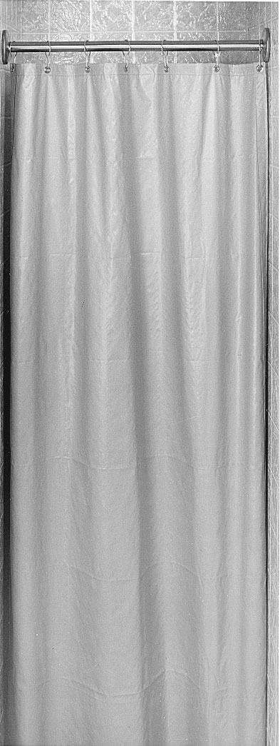 "Bradley 9534-4872 White Cotton Duck Material Shower Curtain 48"" x 72"""