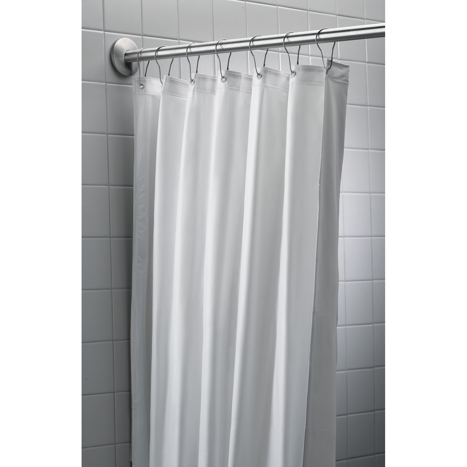 "Bradley 9537-4872 White Antimicrobial Shower Curtain 48"" x 72"""