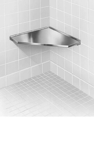 Bradley 954 Stainless Steel Corner Shower Seat - Hinged