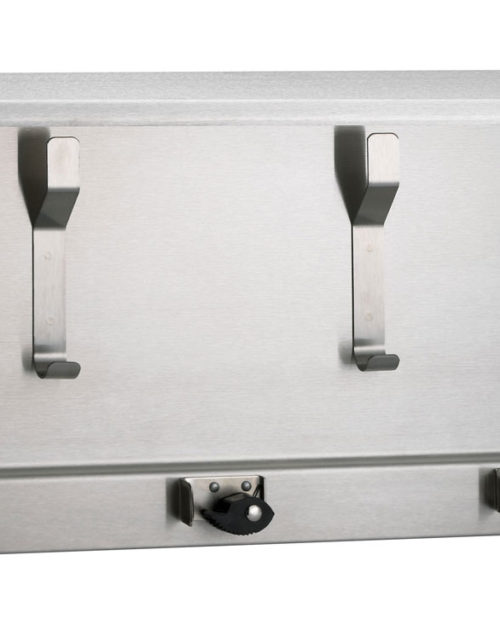 "Bradley 9933 Surface Mounted 34"" Utility Shelf (4 Hooks, 3 Holders)"