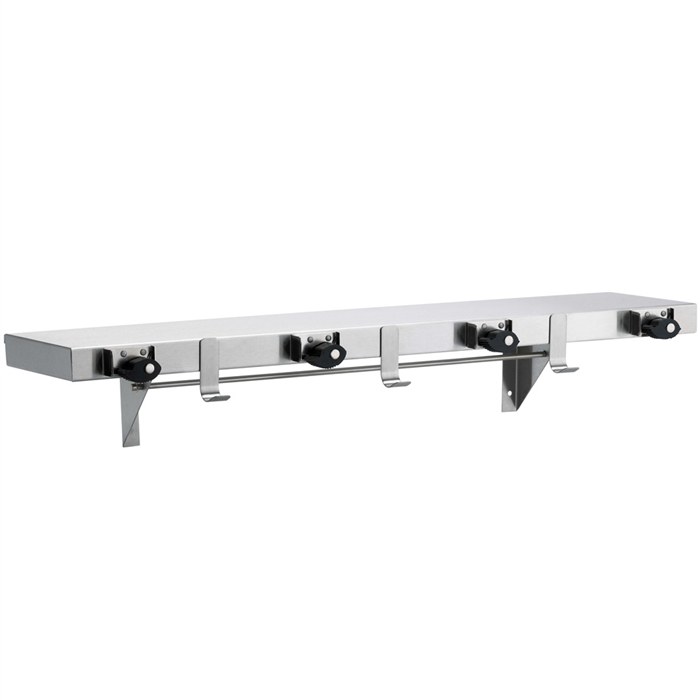 "Bradley 9984 36"" Utility Shelf (3 Hooks / 4 Holders)"