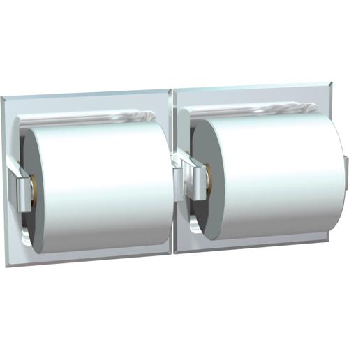 American Specialties 74022-HBD Bright Stainless Steel Double Toilet Paper Dispenser With Hood