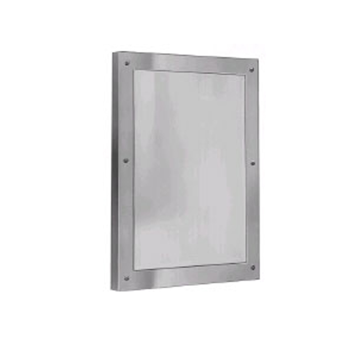 "Bradley SA03-1 12"" x 16"" Front Mounted Stainless Steel Security Mirror"