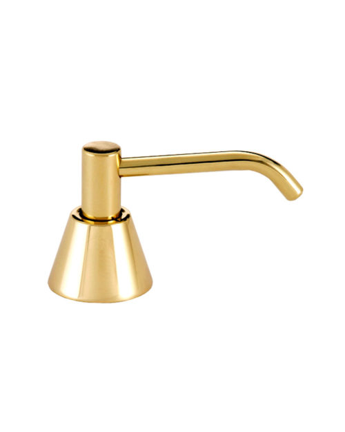 "Gamco G-64LB-US-3 Counter Mounted Polished Brass Soap Dispenser - 4"" Spout"