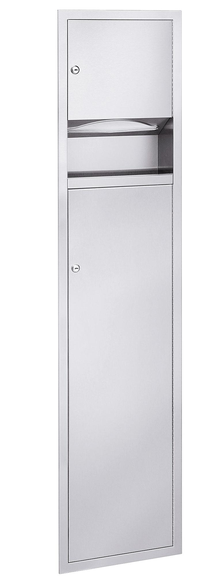 Bradley 2251 Recessed Folded Towel Dispenser & 5.3 gal. Waste Receptacle
