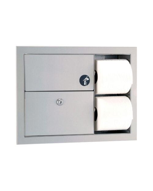 Gamco TSC-7 Recessed Sanitary Napkin Disposal and Toilet Tissue Dispenser