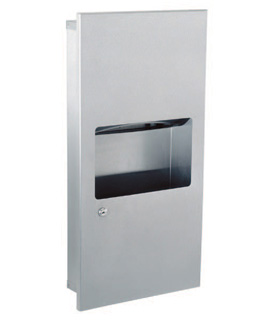 Gamco TW-8F Semi-Recessed Coverall Mini-Towel Dispenser and Waste Receptacle Combination - 2 gal