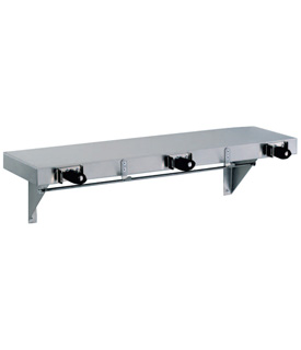 Gamco US-2 Utility Shelf with Mop/Broom Holders and Rag Hooks